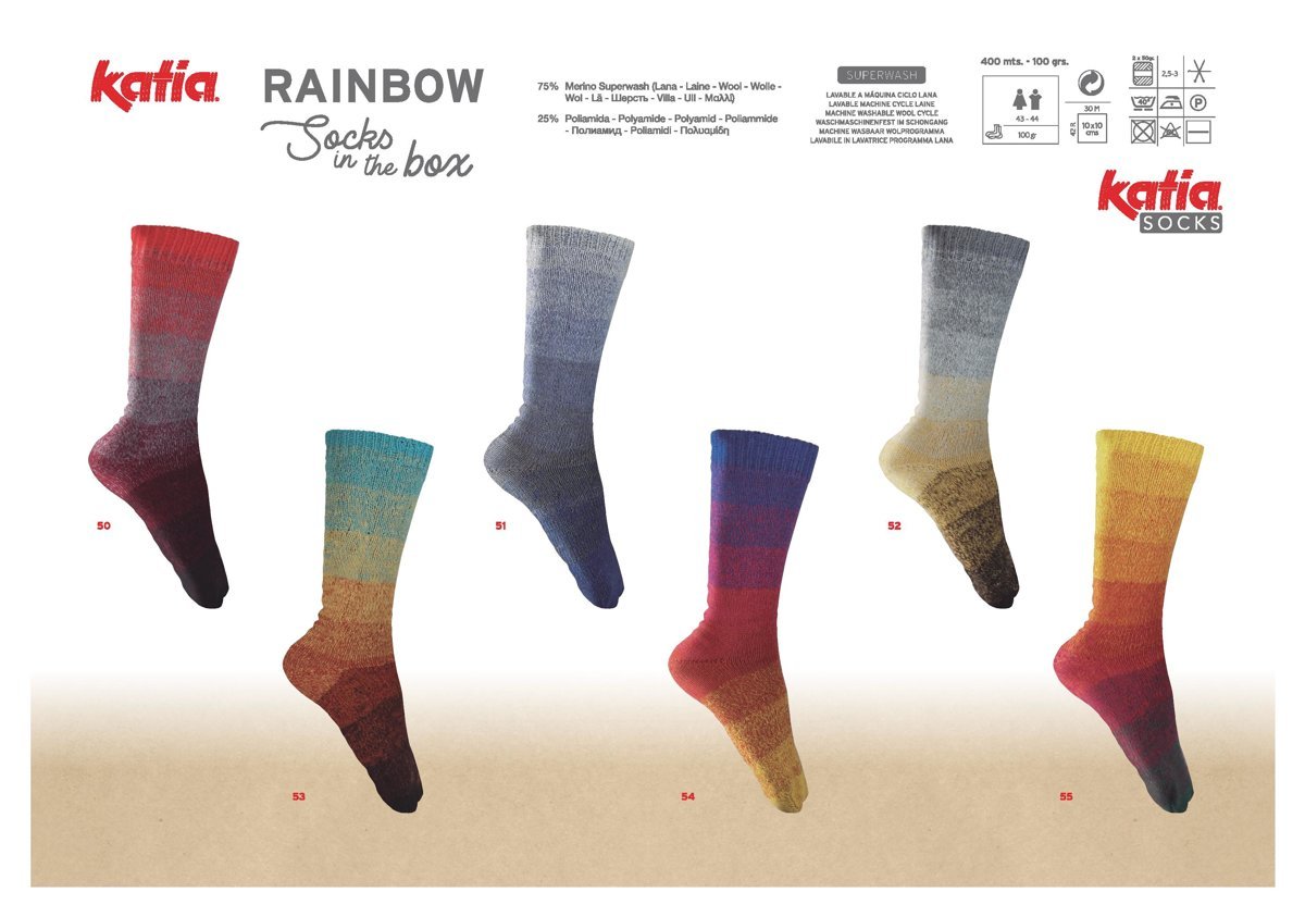 Zeķu dzija Rainbow Socks